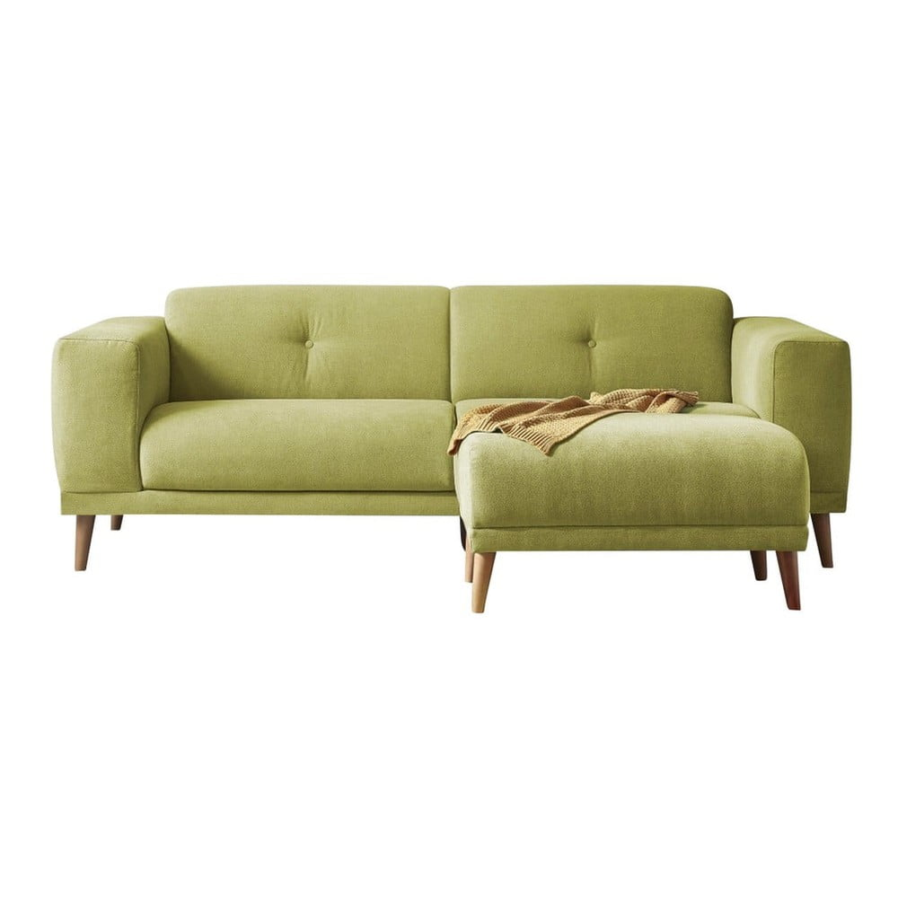 Zielona sofa z podnóżkiem Bobochic Paris Luna