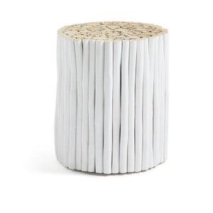 Biały taboret z drewna tekowego La Forma Filippo, ⌀35cm