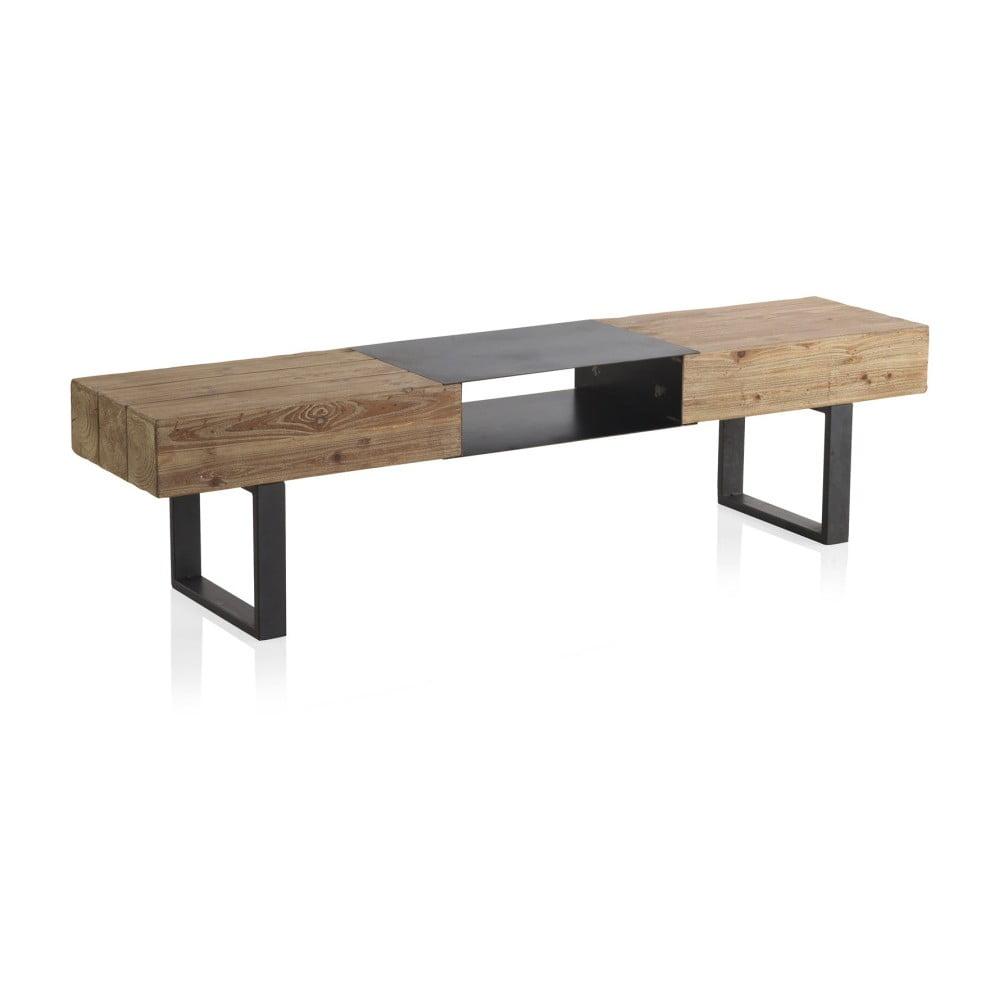 Drewniana szafka pod TV z metalowymi nogami Geese, 180x40 cm