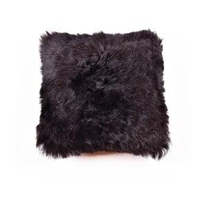 Ciemna dwustronna poduszka futrzana z długim włosiem, 45x45 cm