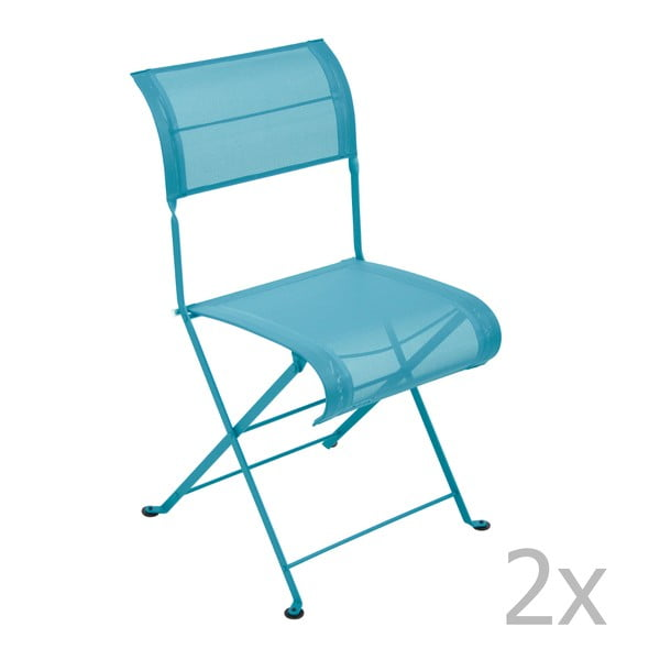 Zestaw 2 turkusowych krzeseł składanych Fermob Dune