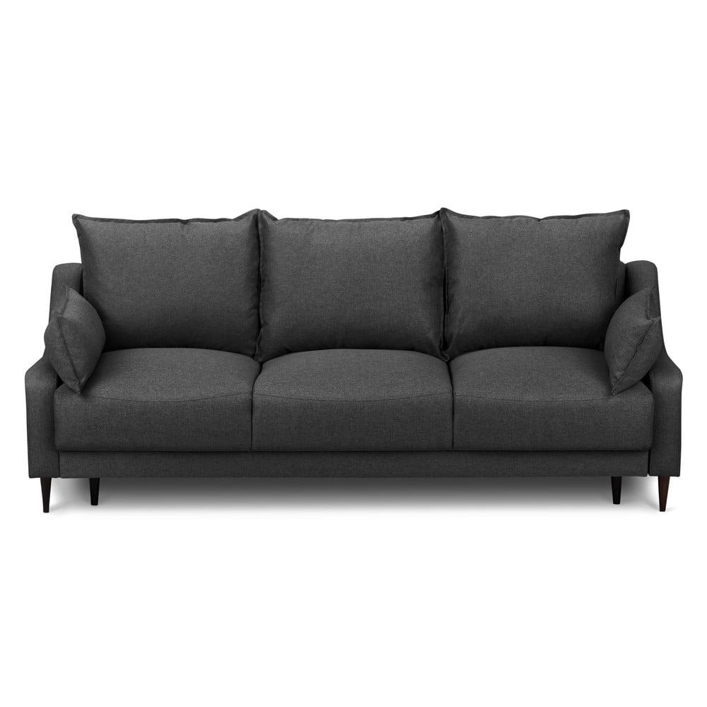 Ciemnoszara rozkładana sofa 3-osobowa ze schowkiem Mazzini Sofas Ancolie