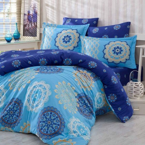 Pościel bawełniana z prześcieradłem i 2 poszewkami na poduszki Ottoman Blue, 200x220cm