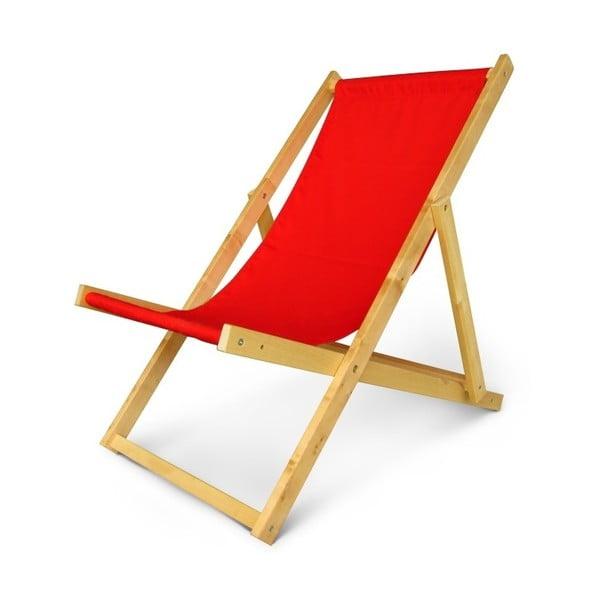 Regulowany leżak drewniany JustRest, czerwony