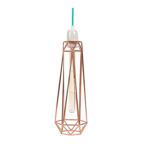 Brązowa lampa wisząca z niebieskim kablem Filament Style Diamond #2