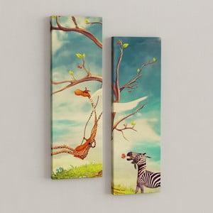 Zestaw 2 obrazów Zebra i żyrafa