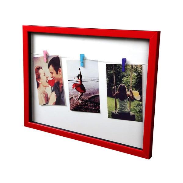 Ramka na zdjęcia z klamerkami Deep Red Peg