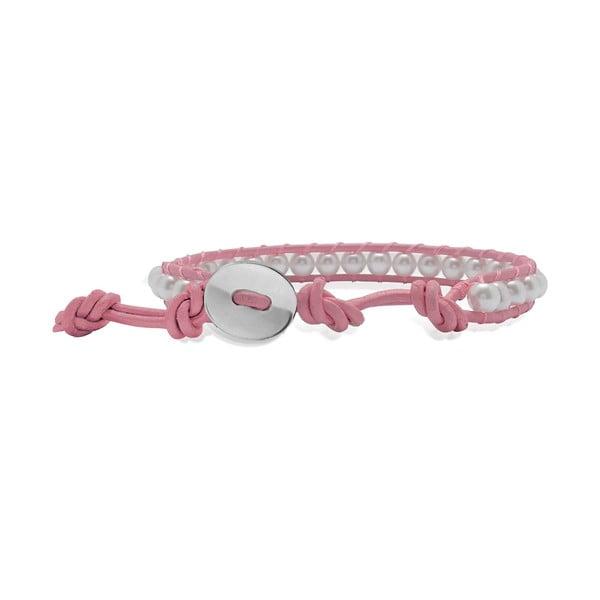Jasnoróżowa bransoletka ze skóry z perłami Lucie & Jade