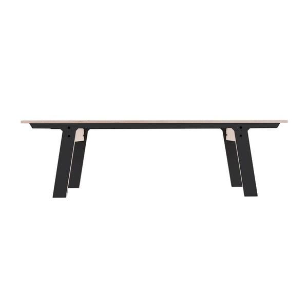 Czarna ławka rform Slim 01, dł. 165 cm