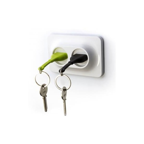 Uchwyt naścienny  z zawieszkami na klucze Double Unplug, zielony/czarny