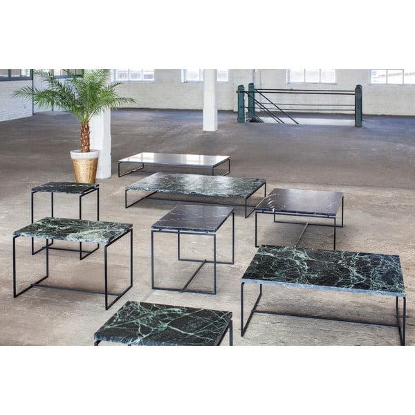 Czarny szeroki stolik z marmurowym blatem Serax Nero