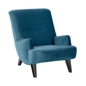Niebieski fotel z czarnymi nogami Max Winzer Brandford Suede