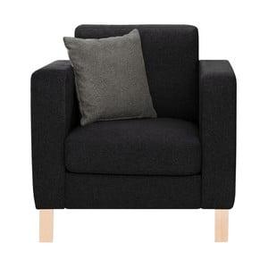 Czarny fotel z antracytową poduszką Stella Cadente Canoa