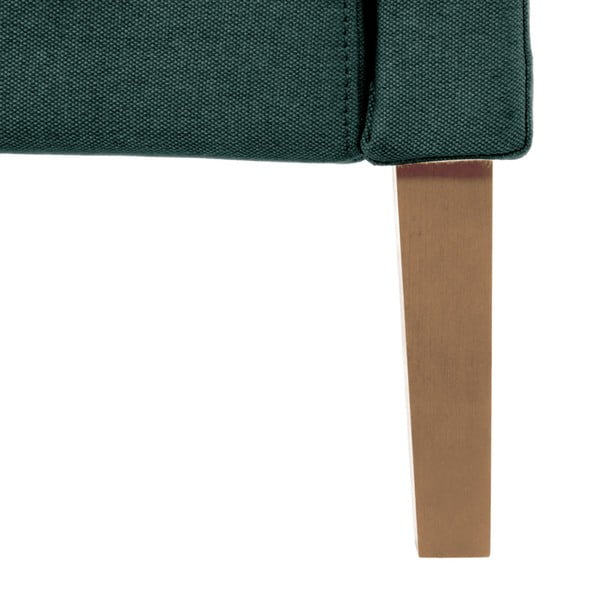 Ciemnoturkusowe łóżko z naturalnymi nóżkami Vivonita Windsor, 140x200 cm
