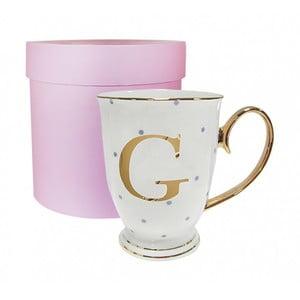 Kubek z literką G w liliowe groszki