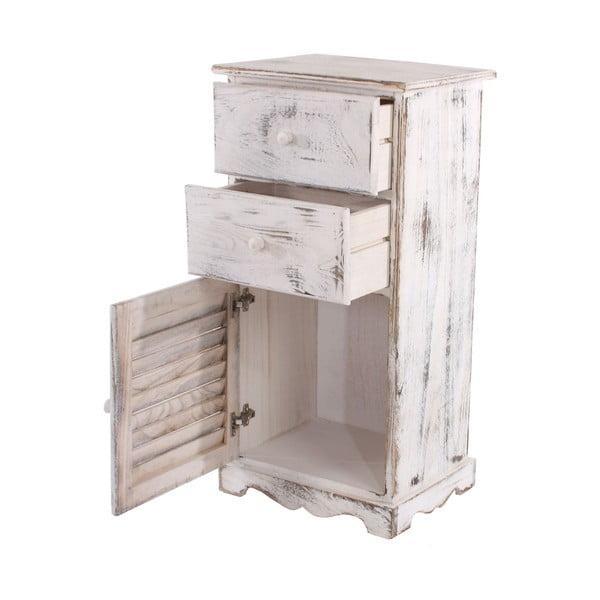 Biała komoda/szafka nocna Mendler Shabby