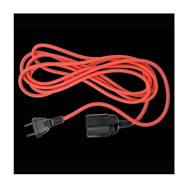 Kabel pokryty materiałem z oprawką i wtyczką, czerwony, 3 m