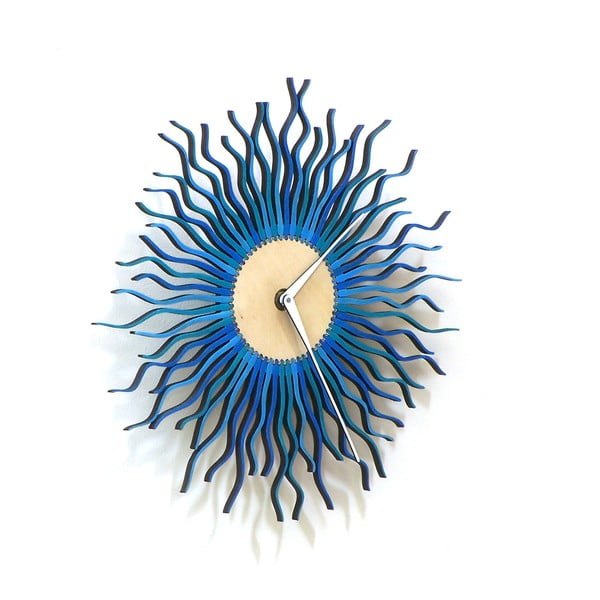 Zegar drewniany Radium, niebieski, 29 cm