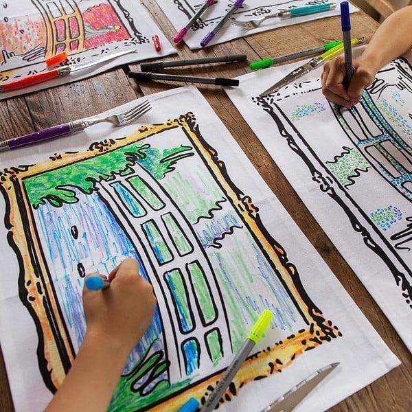 """Zestaw 4 mat stołowych do kolorowania Doodle, motyw """"obrazy Moneta"""""""