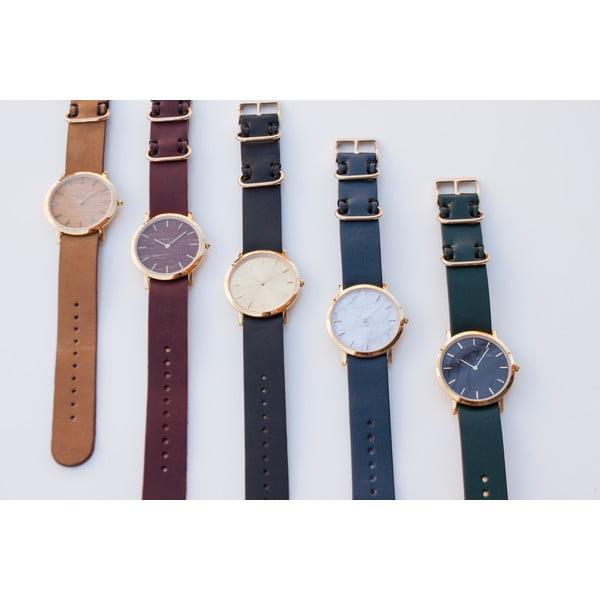 Biały marmurkowy zegarek z czerwonym paskiem Analog Watch Co. Classic