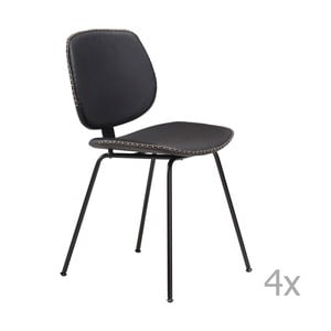 Zestaw 4 czarnych krzeseł DAN– FORM Prime