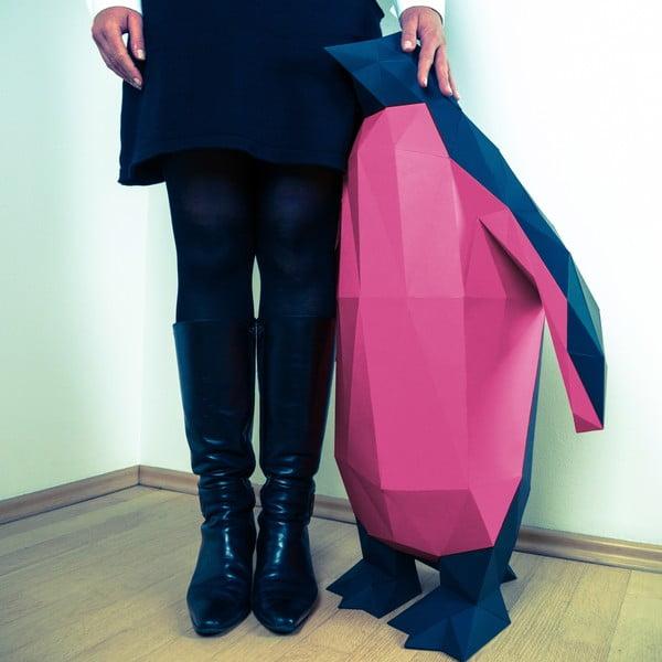 Papierowa rzeźba Pingwin XL, czarno-różowa