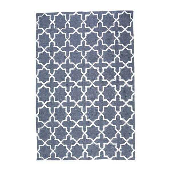Dywan wełniany Geometry Vintage Cross Grey & White, 160x230 cm