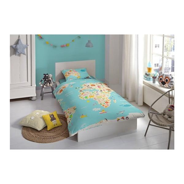 Dziecięca pościel jednoosobowa z czystej bawełny Good Morning Worl Map, 140x200 cm