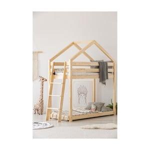 Łóżko piętrowe w kształcie domku z drewna sosnowego Adeko Mila DMPB, 70x160 cm
