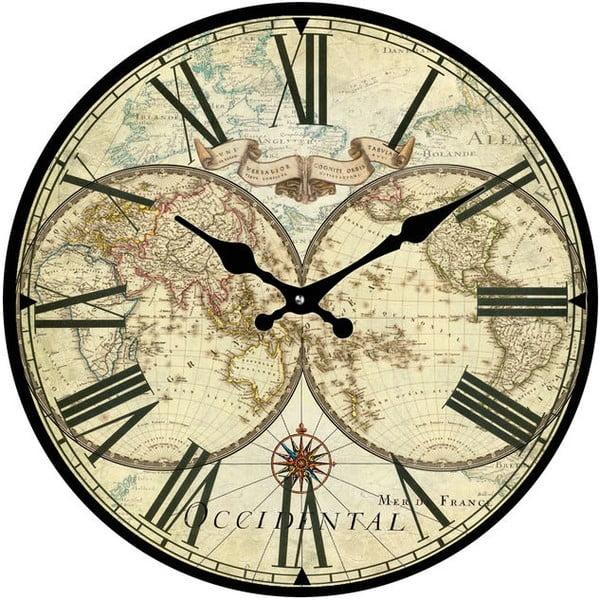 Szklany zegar Mapa, 30 cm