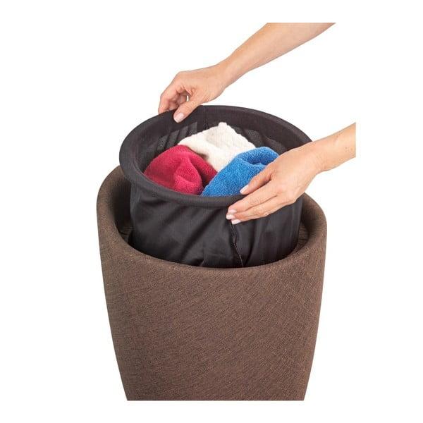 Brązowy kosz na pranie i taboret w jednym Wenko Linen Look, 20 l