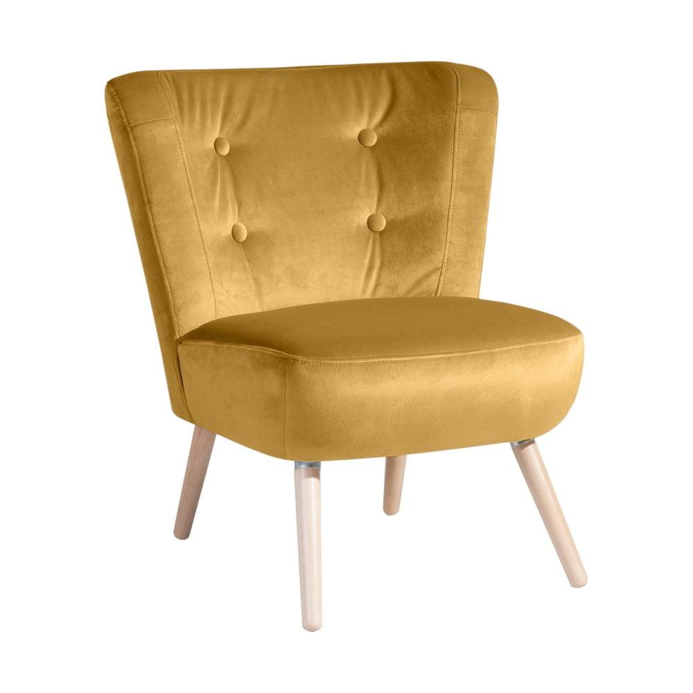 Żółty fotel Max Winzer Neele Velvet