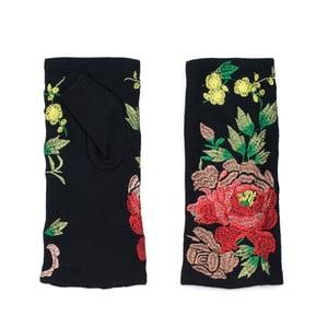 Czarne mitenki w kwiaty Rosemary