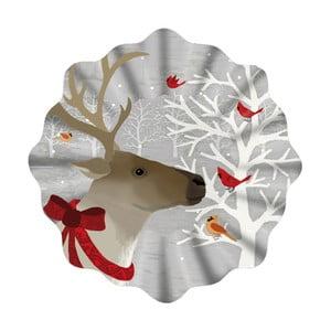 Talerz szklany ze świątecznym motywem PPD Xmas Plate Deer Friends, ⌀ 32 cm