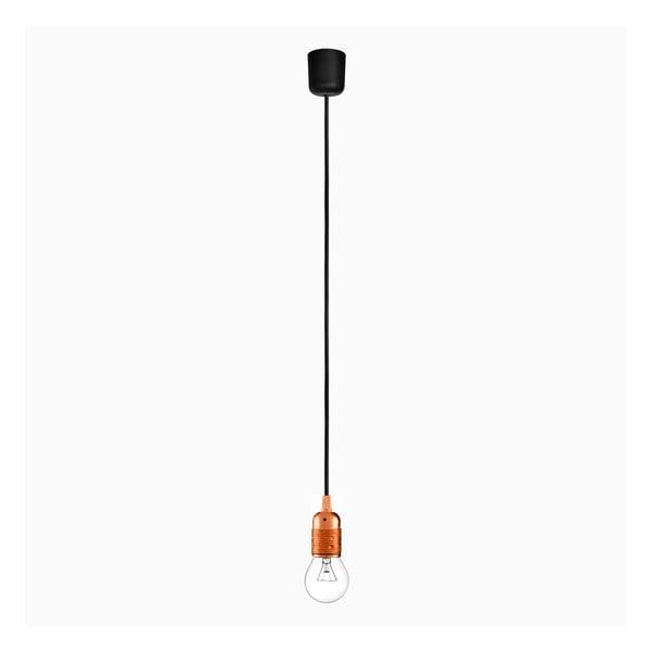 Lampa wisząca z czarnym kablem i oprawą żarówki w kolorze miedzi Bulb Attack Uno