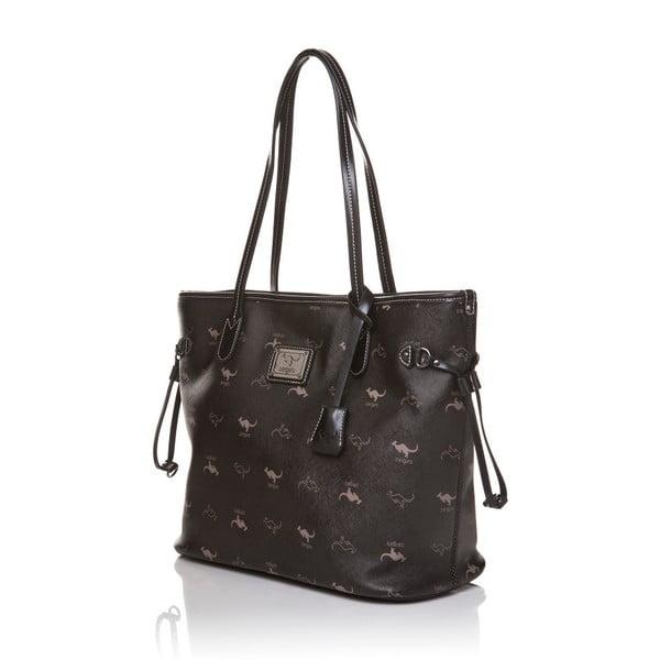 Skórzana torebka przez ramię Canguru Shopper, czarna
