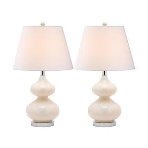 Zestaw 2 lamp stołowych z perłową podstawą Safavieh Gabriel