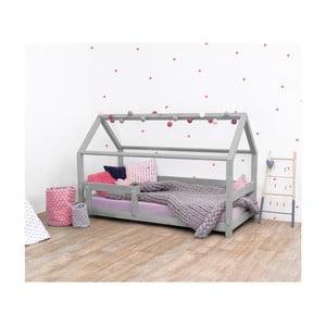 Szare łóżko dziecięce z drewna świerkowego z barierkami Benlemi Tery, 120x200 cm
