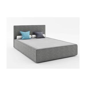Ciemnoszare łóżko 2-osobowe Absynth Mio Soft, 140x200 cm