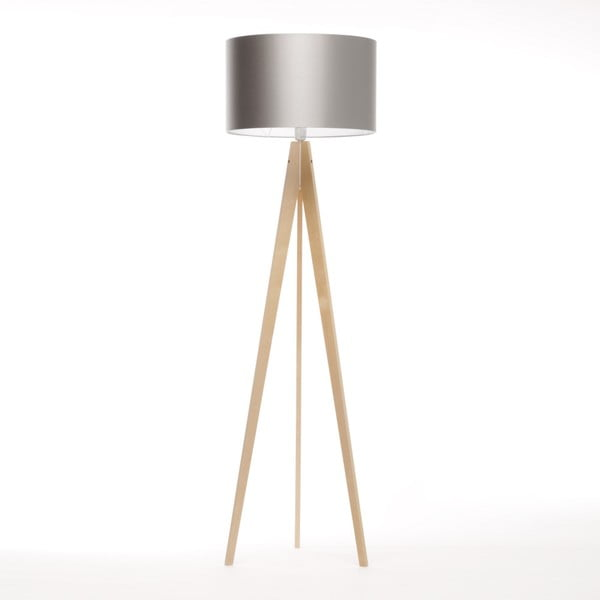 Srebrna lampa stojąca Artist, brzoza, 150 cm