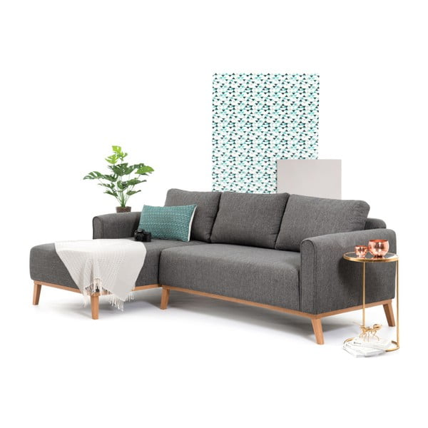Antracytowa lewostronna sofa narożna Vivonita Milton