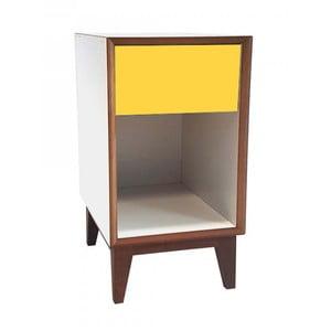 Duża szafka nocna z białym korpusem i żółtą szufladą Ragaba PIX
