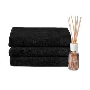 Zestaw 3 ręczników i dyfuzora Pure Black