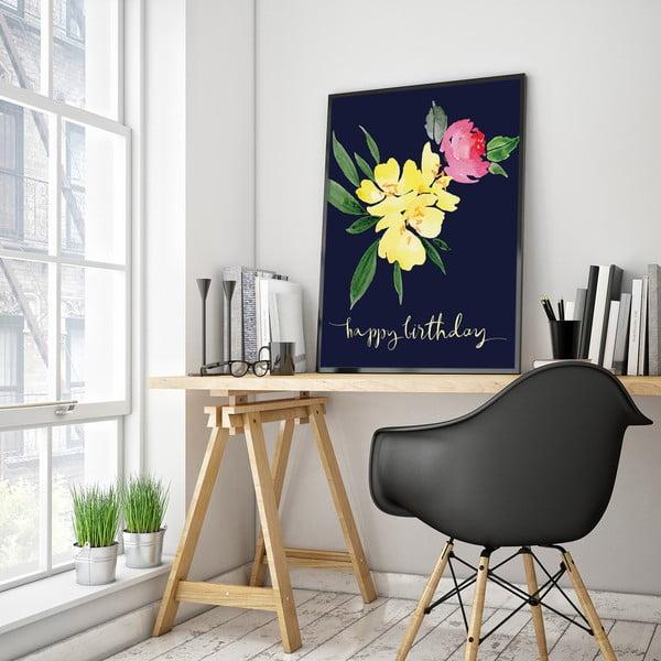Plakat z kwiatami Happy Birthday, 30 x 40 cm