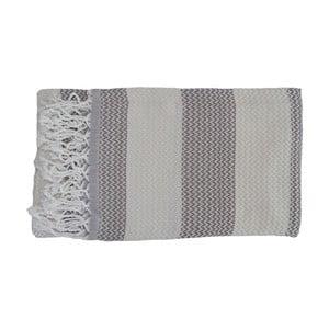 Szary ręcznie tkany ręcznik z bawełny premium Alya,100x180 cm