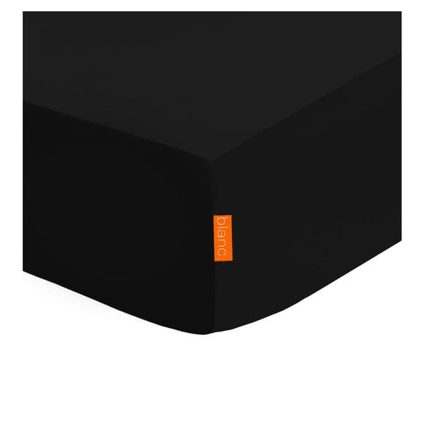 Czarne elastyczne prześcieradło HF Living Basic, 140x200 cm