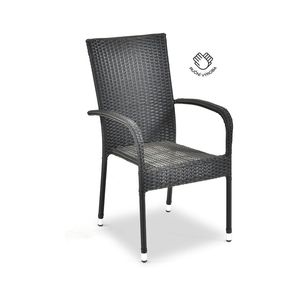 Czarne krzesło ogrodowe ze sztucznego rattanu Le Bonom Paris, wys. 95 cm