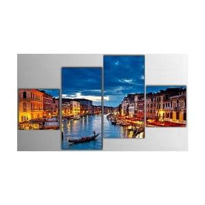 Czteroczęściowy obraz Night City, 50x100 cm