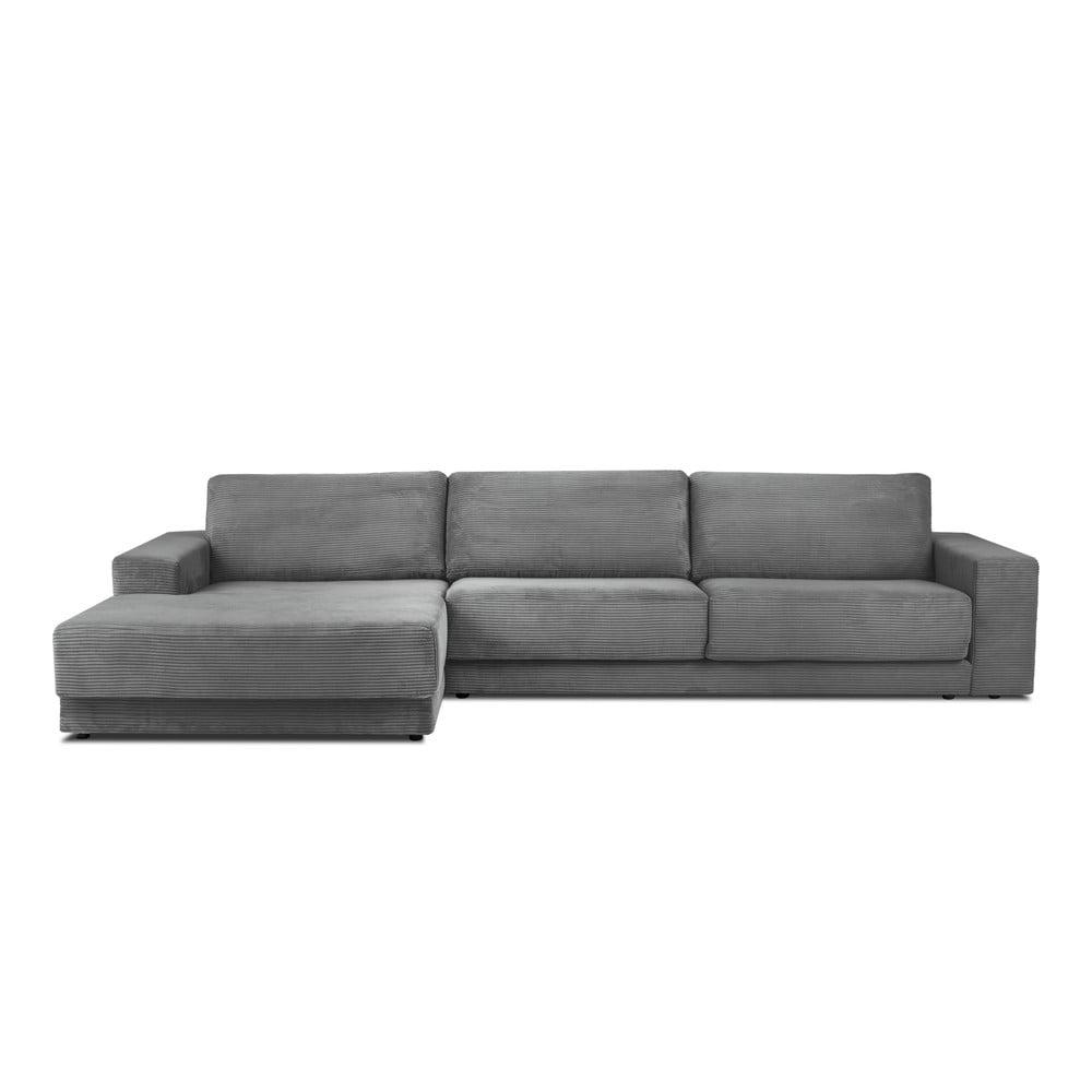 Szara sztruksowa XXL 5-osobowa sofa rozkładana Milo Casa Donatella, lewy róg