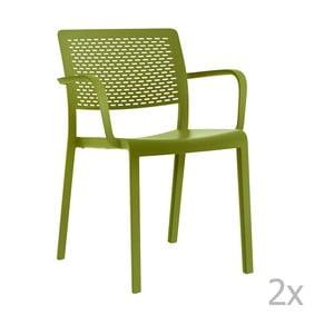 Zestaw 2 zielonych krzeseł ogrodowych z podłokietnikami Resol Trama